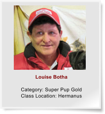 Louise Botha  Category: Super Pup Gold Class Location: Hermanus